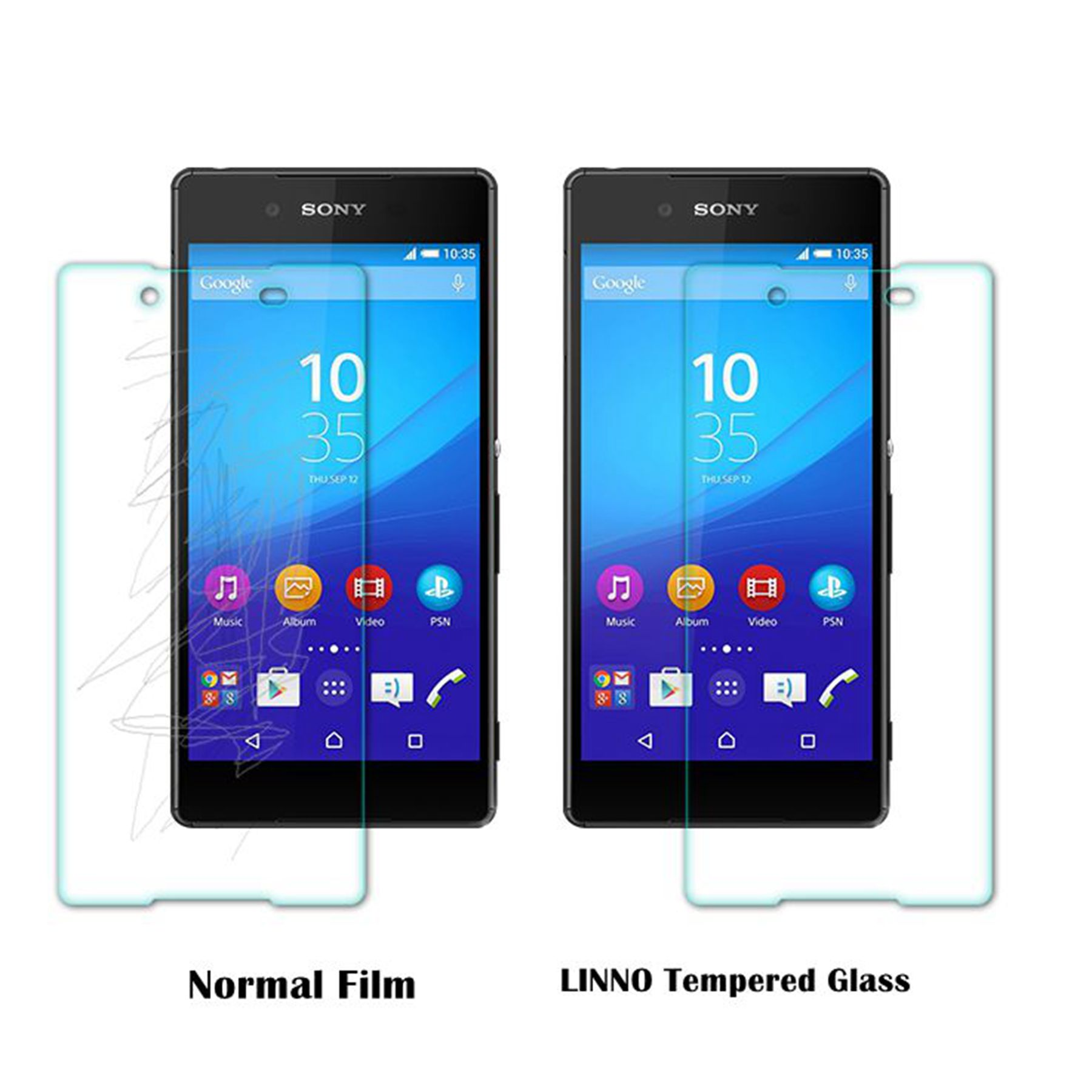 LINNO Premium Screen Protector Front and Back Tempered Glass Screen Protective for Sony Xperia Z5