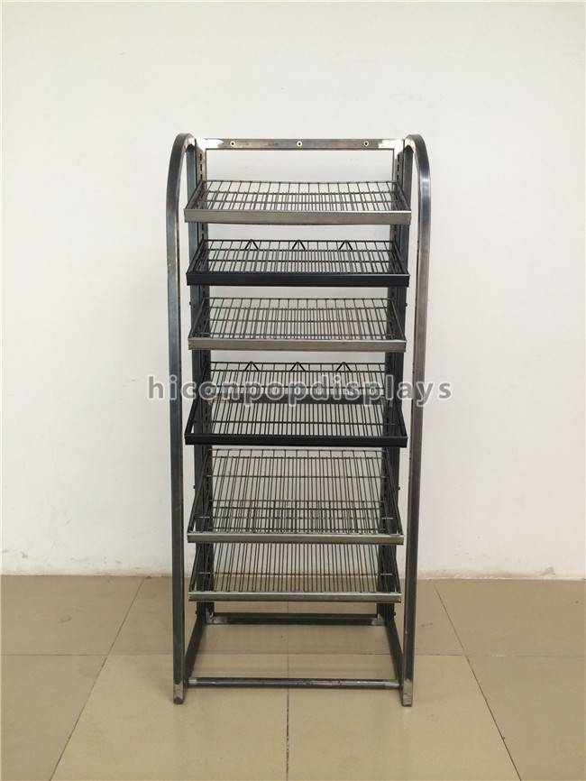 Metal Tube 6-Tier Freestanding Retail Wine Display Racks