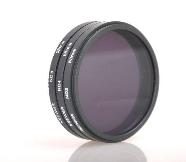 58MM Neutral Density ND Filter KIT ND2 ND4 ND8+LENS CAP