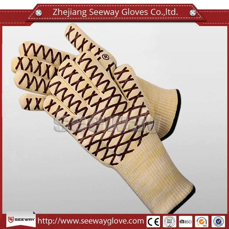 SeeWay F500 Fire Retardant Heat Protect Up To 500c Silicone Glove with Five Fingers