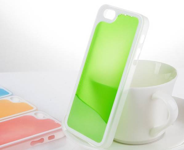 High quality flowing sands water injected noctilucent case for iphone 5