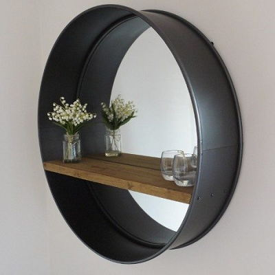 Large Black Retro Circular Metal Wall Round Mirror With Rustic Wooden Shelf