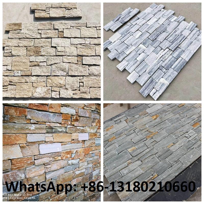 Natural Rusty Quartz Exterior Wall Cladding Slate Ledge Stone Rock Wall Pattern Cultured Stone