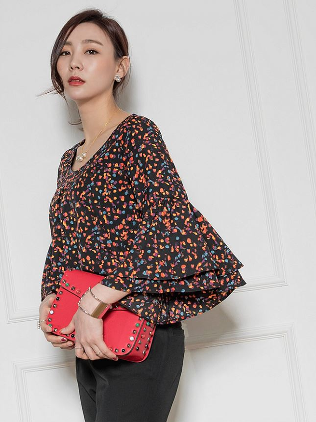 Summer High Fashion New Style Women Dual Bell 3/4 Sleeve Blouse for ladies