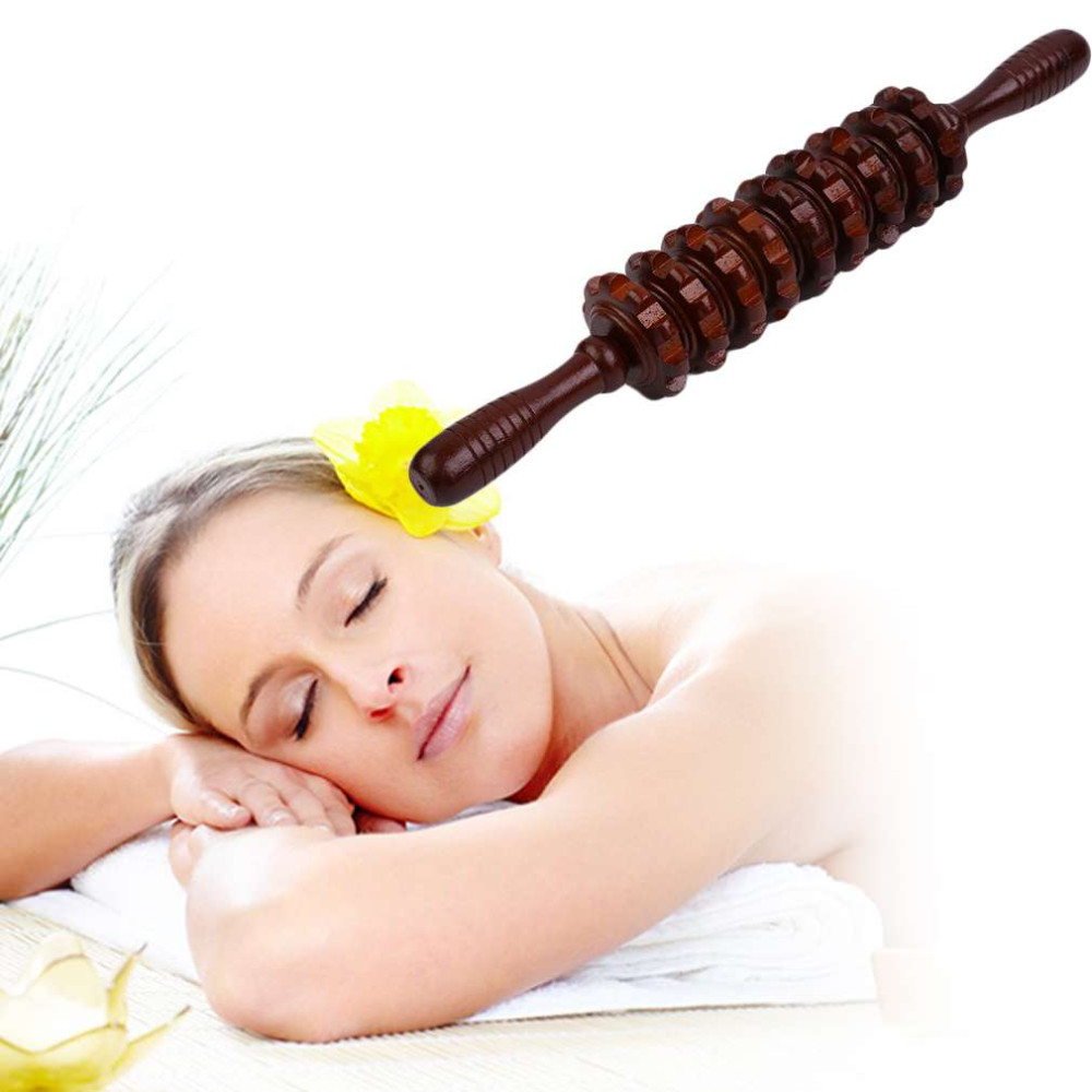 Multifunctional Wooden Abdominal Massage Roller Handheld Manual Wheel Massage Stick Release Pain Hea