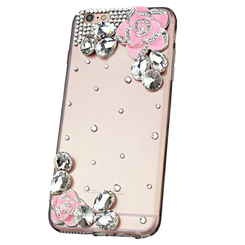 Rhinestone Pink Camellia Back Cover Case with Diamond for iPhone X/7/8/6Splus Samsung J3/J5/J7/S8