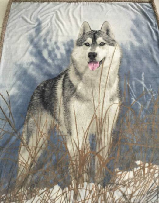 3D print sherpa flannel blanket 2 layers wolf animal