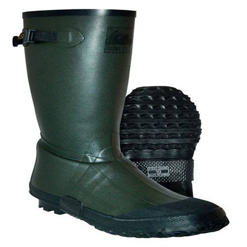 Green rubber boots with Black Calendar outsole