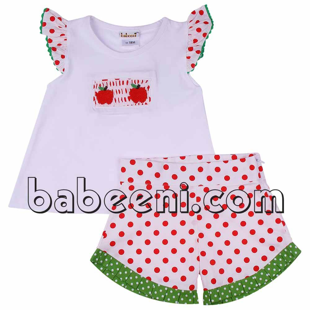 Apple hand smocked short set for girl - BB599