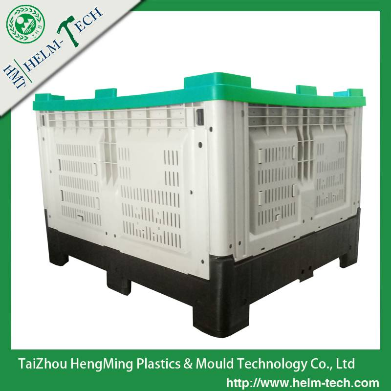 plastic collapsible pallet container with lid