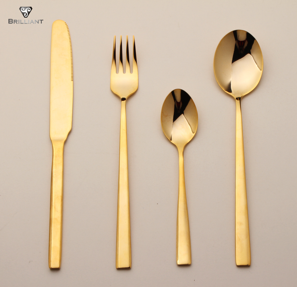 colorful rainbow titanium gold or black plated long handle stainless steel dinnerware cutlery set fo