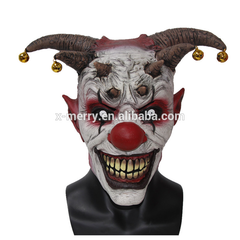 X-MERRY TOY Jingle Jangle Clown Mask Horror Latex Halloween Scary Head The Clown Masks