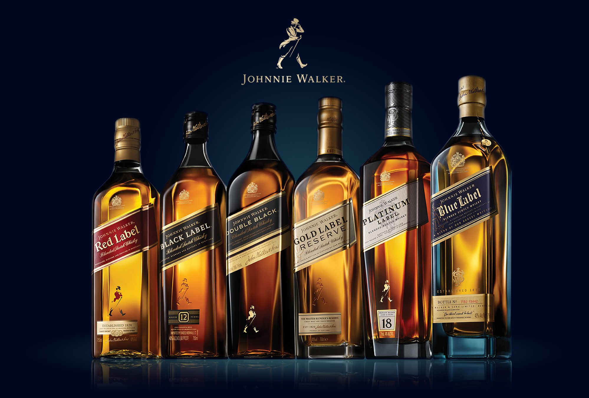 Johnnie Walker black label 700ml, 1l bottle