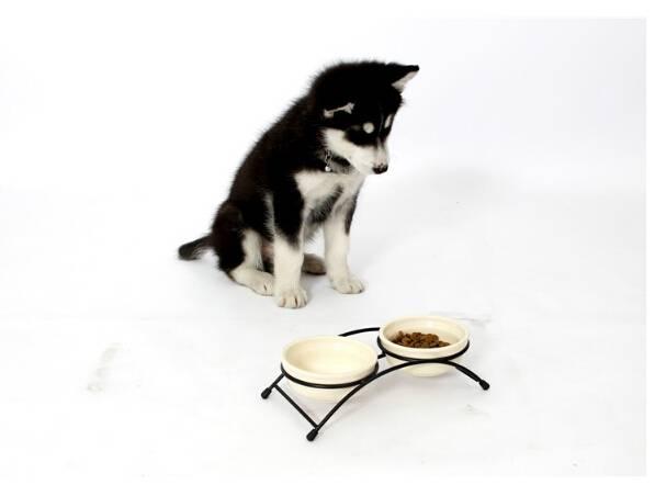 High Quality New Design Large Double-duty Pet Dog Ceramic Bowl