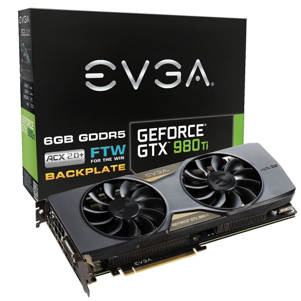 EVGA GeForce GTX 980 Ti 6GB FTW GAMING ACX 2.0+, Whisper Silent Cooling w/ Free Installed Backplate