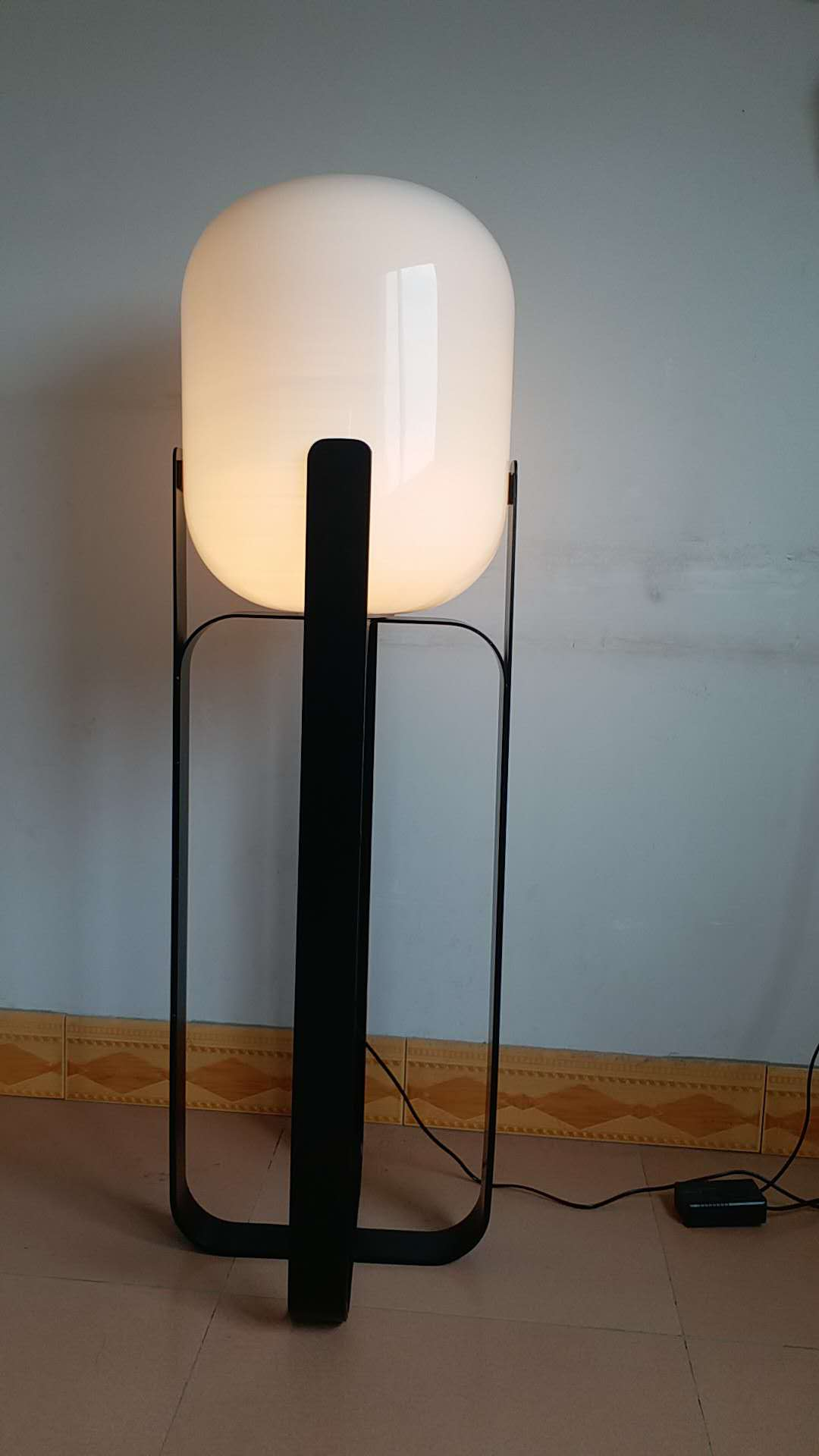White frosted glass floor lamp