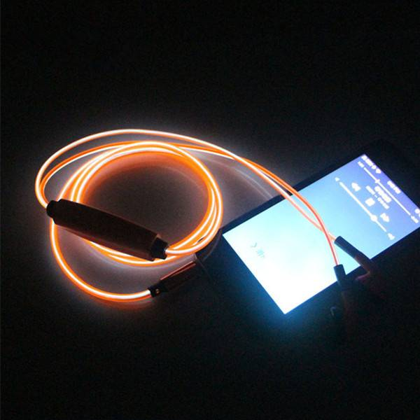 Visible EL Cold Orange Light Twinkle with Music Rhythm In-ear Stereo Earphones for iPhone - 106cm