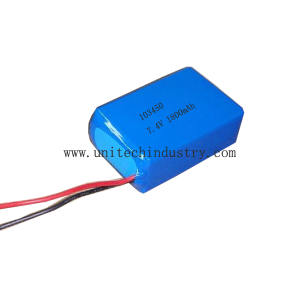 High quality Custom rechargeable 2S1P 103450 7.4V 1800mAh lipo battery Pack