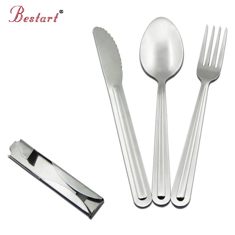 Mirror polish stainless steel travel cutlery set