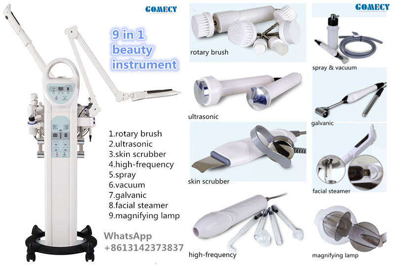 CE 9 in 1 beauty machine applied in beauty center facial care instrument facial steamer LED lamp
