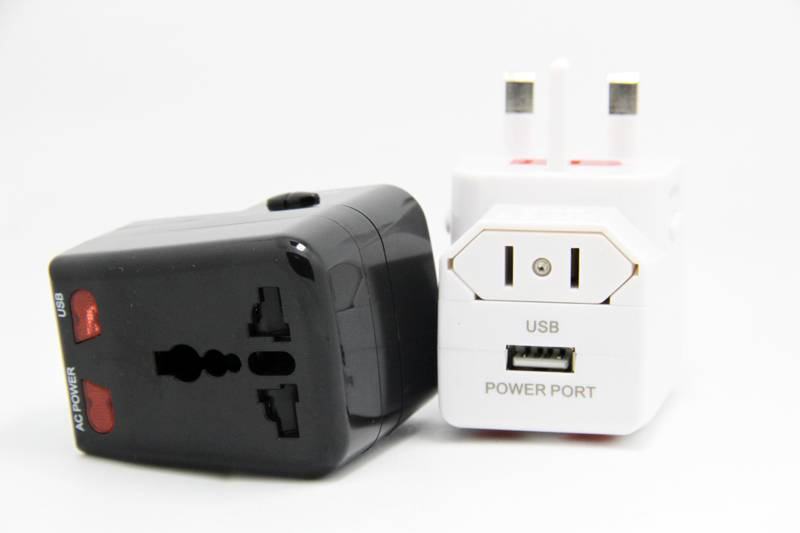 World travel adapter with USB  electrical socket