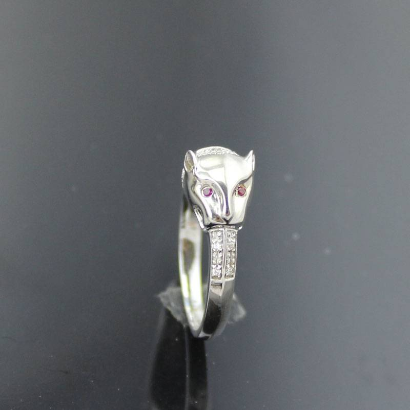 925 silver ring with white -gold-plated