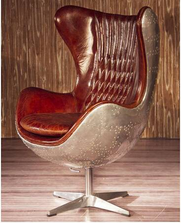 Aviator Aero Metal Spitfire Swivel Aluminium Leather Egg Chair