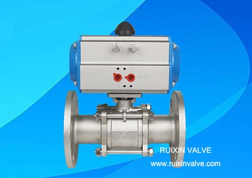 3 pc flanged ball valve with pneumatic actuator/air motor,double acting and single acting