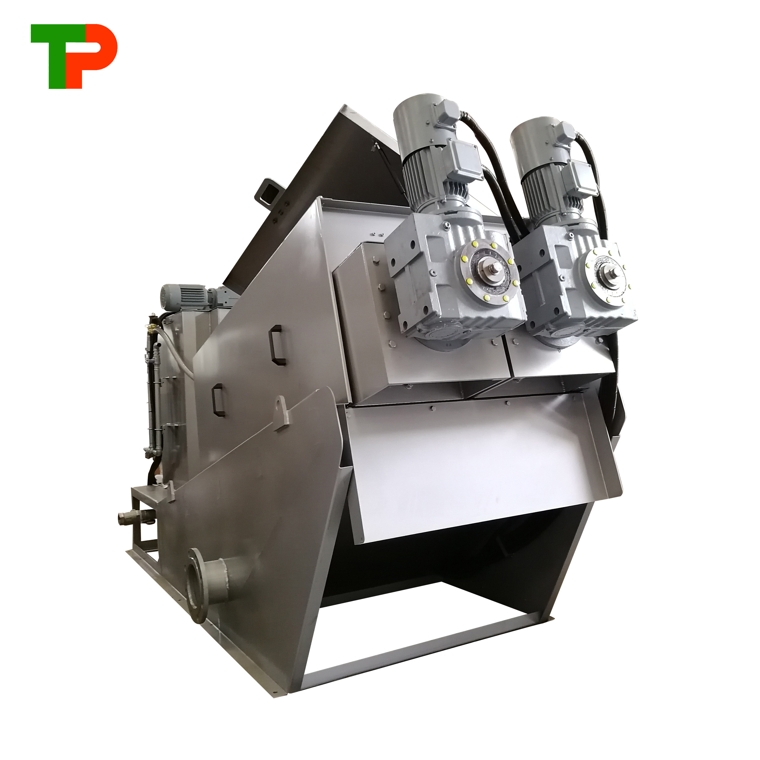 Multi disk screw press sludge dewatering machine for municipal and industrial wastewater treatment