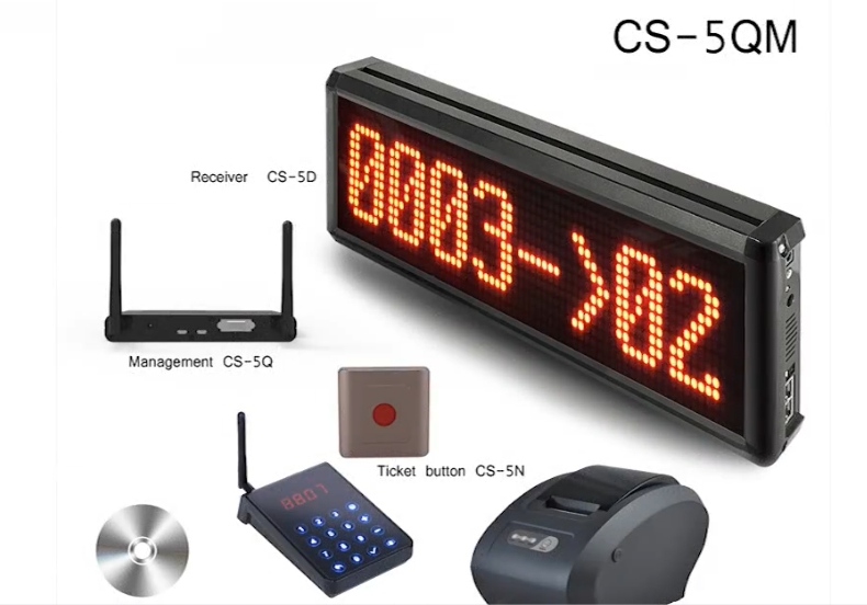 Wireless queue management system screen display ticket dispenser pager