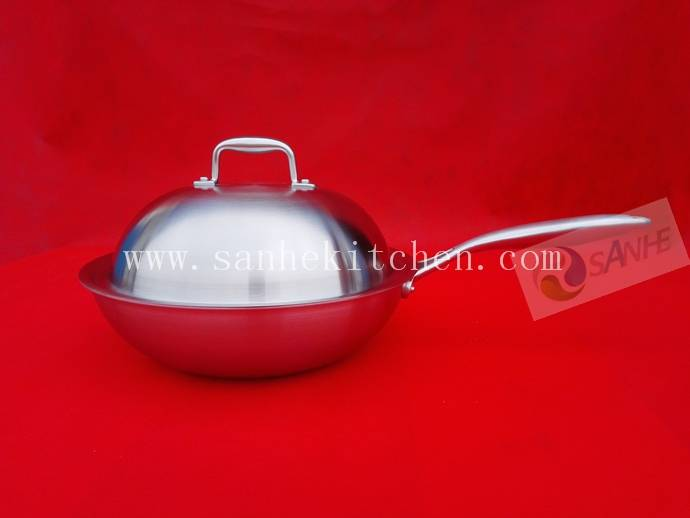 Stainless steel wok,thickness 2.5mm with cast iron handle