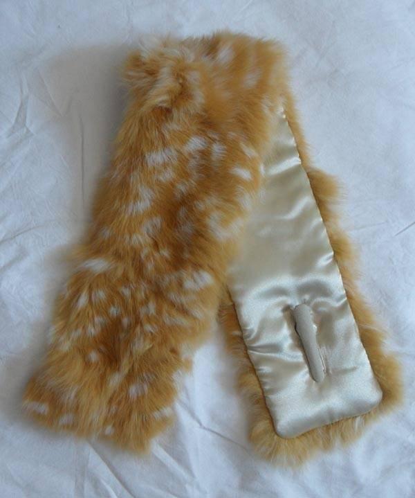 rabbit fur scarf with deer spots printed