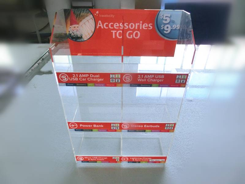 3 Tier acrylic mobile phone accessories display
