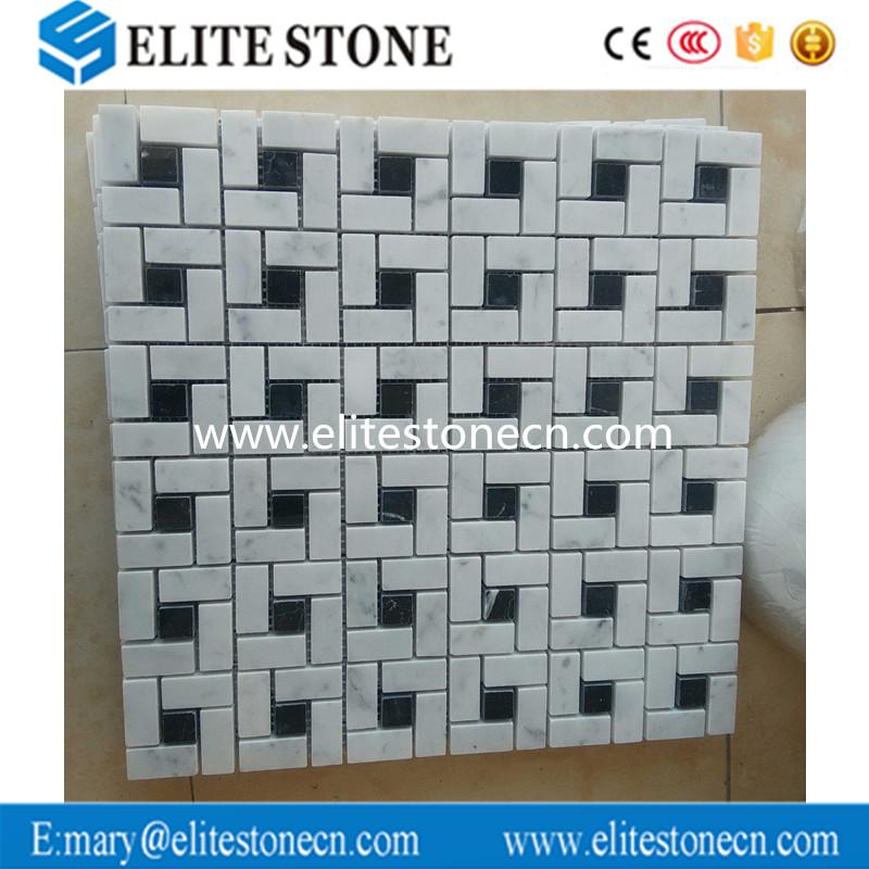 Carrara Marble Italian White Bianco Carrera Target Pinwheel Pattern Marble Mosaic Tile with Nero Mar