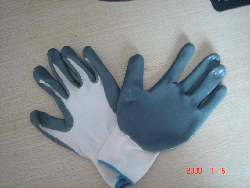 nylon knitted with nitrile coated gloves, smooth surface