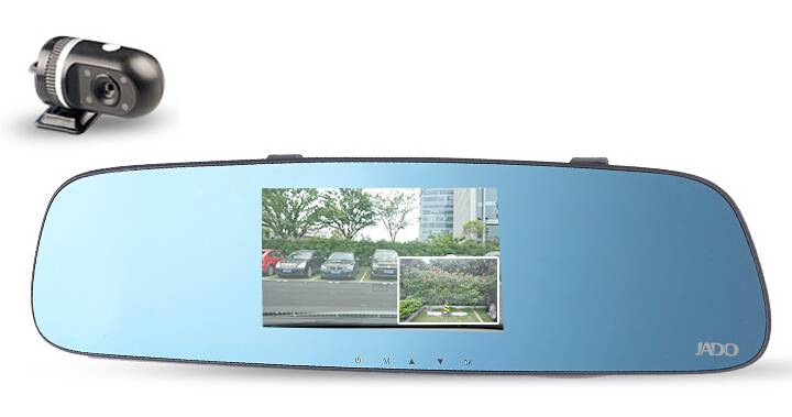 Jado #D650s Dashcam, Dual Lens Car DVR, Front and Rear Camera Car Black Box