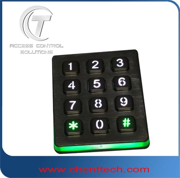 3x4 layout metal numeric backlit keypad with blue light