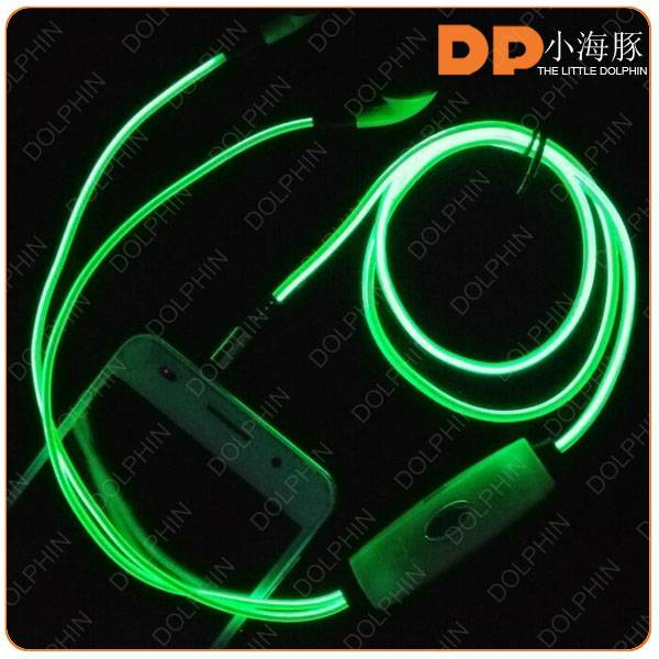 High quality LED earphone EL Earphone,glow in the dark