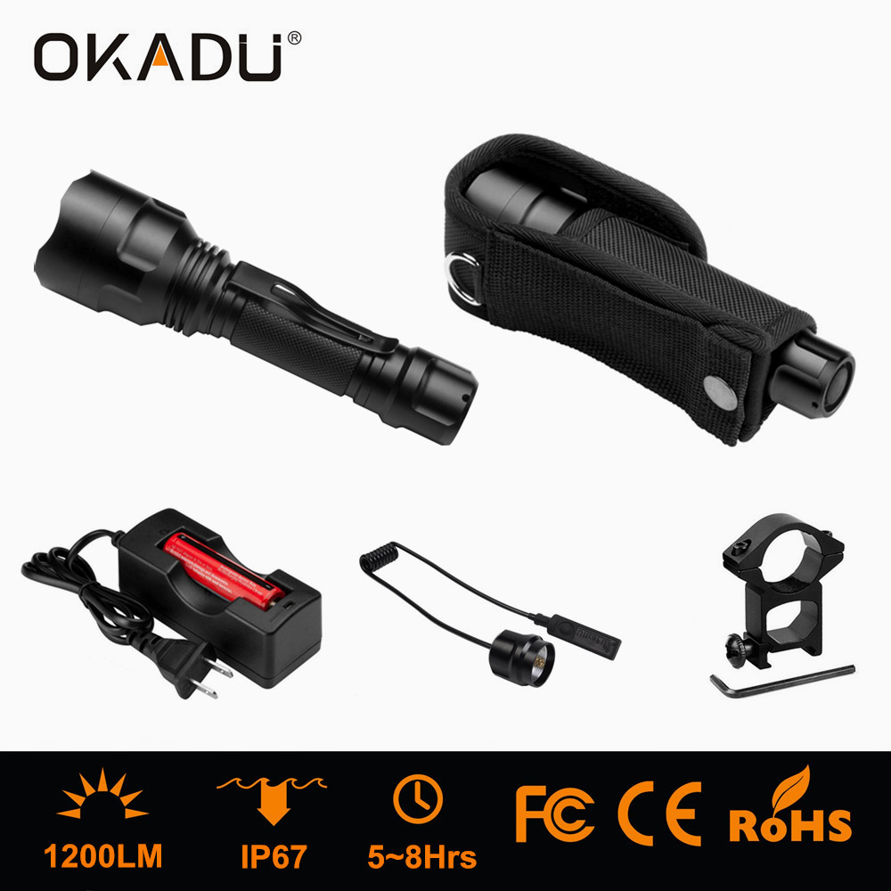 Okadu ST03 Rechargeable LED Tactical Torch CREE Torch 1200lm LED Tactical Torch