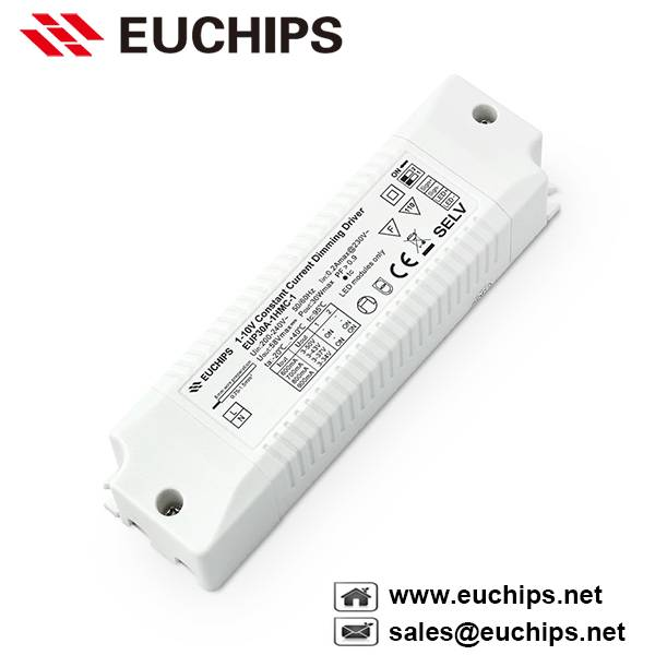 600/700/800/900mA 30W 1 channel 1-10v constant current led dimmable driver EUP30A-1HMC-1