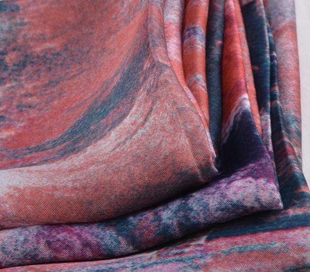 Woven digital printing soft 50D satin chiffon evening gown fabric