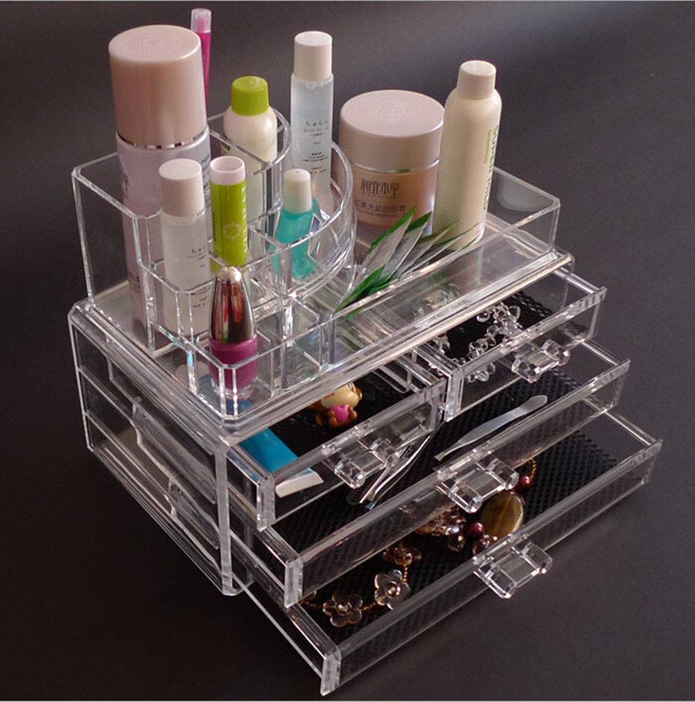 Clear large acrylic makeup organizer for cosmetic storage