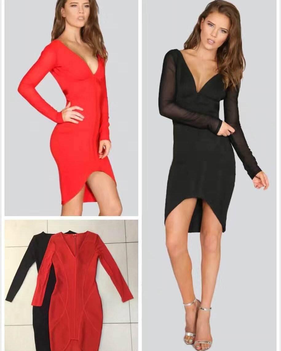 2016 new arrivals autumn long sleeve bodycon bandage V neck fashion woman evening dress
