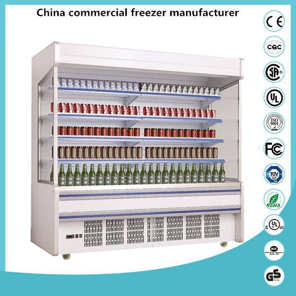Blue Ocean display cooler / Upright open type drink refrigerated showcase for supermarket