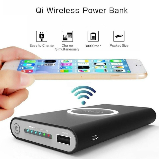 30000mAh Power Bank Qi Wireless Charger (iPhone X 8 Plus Samsung Note 8 S9 S8 Plus S7 Portable Power