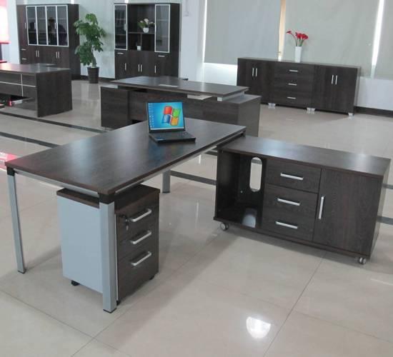 Metal and wood executive desk, office desk, manager desk