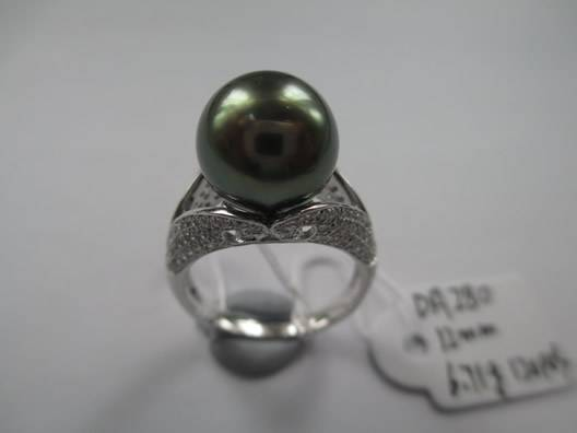Natural Tahitian Black Pearl 12mm Silver Ring in Micro Setting