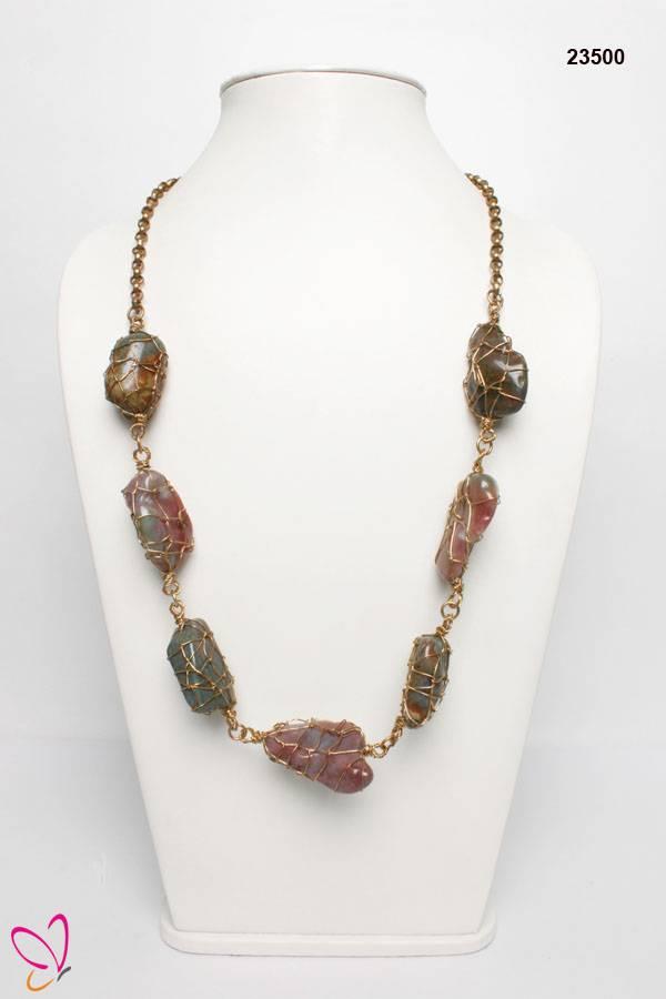 Natural Stone Necklace, Opera Necklace, Attractive Designer Necklace