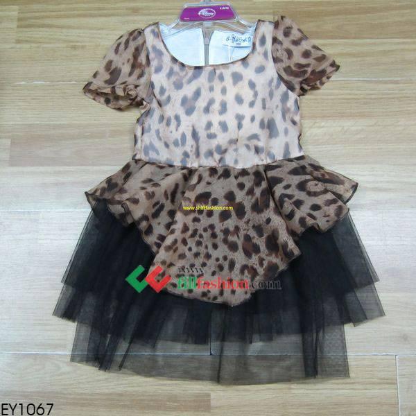 Flower girl's leopard strip dress wholesale fillfashion