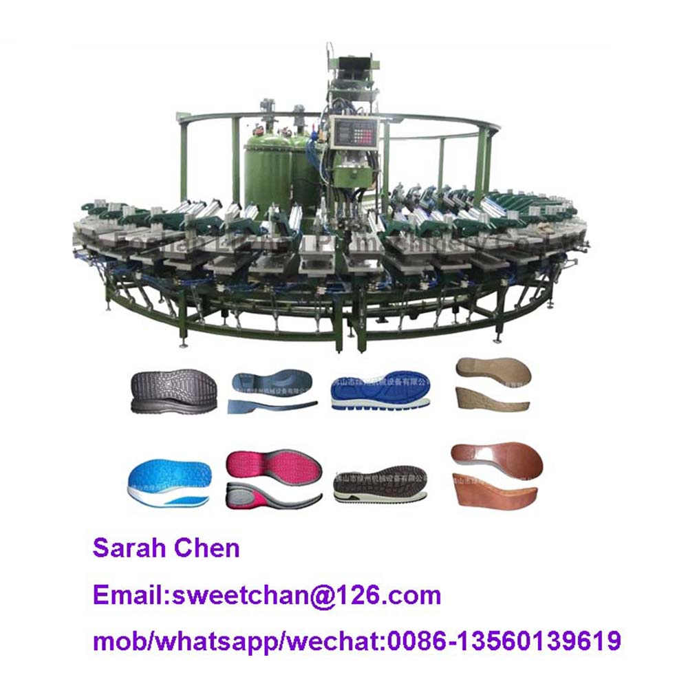 PU shoe sole molding machine with rotary production line